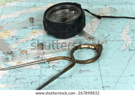 sailors navigation chart and instruments - stock photo