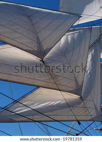 Sails on an old sailing ship - stock photo