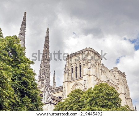 Saint Andre Cathedral through the trees. Bordeaux, Aquitaine. France. - stock photo