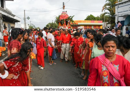 Saint Andre (La Reunion), France - 2 January 2003: people speaking at the hindu celebration of Pandiale at Saint Andre on La Reunion island, France