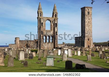 Saint Andrews cathedral grounds, Scotland, UK - stock photo