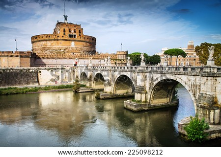 Saint Angel Castle and bridge over the Tiber river in Rome, Italy - stock photo