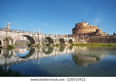 Saint Angel Castle, Saint Angel Bridge and  River Tiber in Rome, Italy.  - stock photo