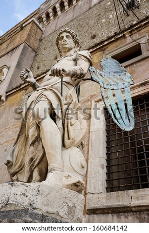 Saint Angel Fortress and Tiber river in Rome, Italy  - stock photo