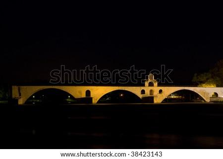 Saint-B?n?zet bridge, Avignon at night, Provence, France - stock photo