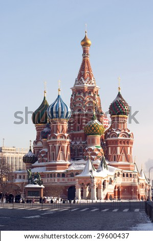 saint basil cathedral, Empty red square, moscow, russia. Pokrovskiy sobor. - stock photo