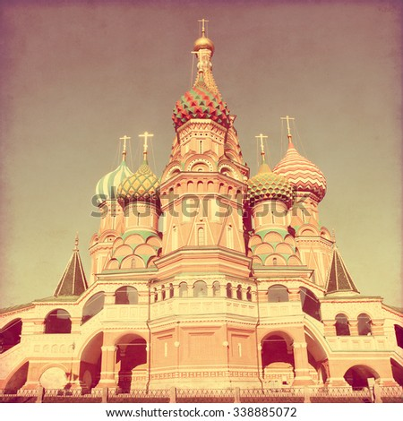 Saint Basil's Cathedral, at Red Square, Moscow, Russia. Image in retro and grunge style.  - stock photo