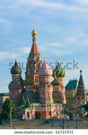 Saint Basil's Cathedral on the Red Square in Moscow, Russia. Also known as Cathedral of Saint Basil the Blessed; Cathedral of Intercession of the Virgin on the Moat; Pokrovskiy Cathedral - stock photo
