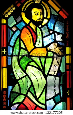 SAINT BENOIT DU LAC QUEBEC CANADA AUGUST 16: Religious stained glass window inside the chapel on august 16 2012 in Saint Benoit Du Lac QC canada