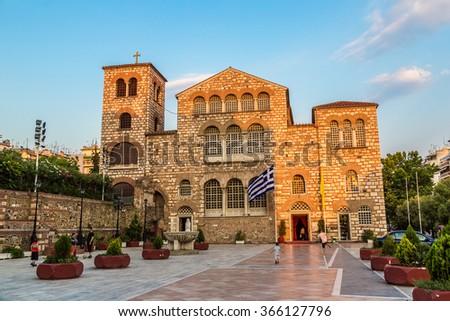 Saint Demetrius church in Thessaloniki, Greece in a summer day - stock photo