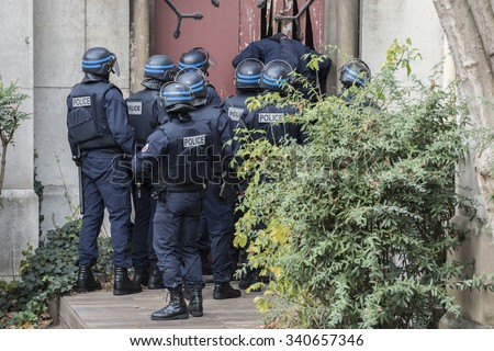SAINT-DENIS near Paris, FRANCE - NOVEMBER 18, 2015 : intervention of the French police to stop the radical Islamists involved in the terrorist attacks in Paris on 13 November 2015. - stock photo