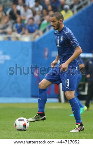 SAINT DENISE- FRANCE,  JUNE 2016 : Bonucci and Morata  in action during football match  of Euro 2016  in France between ITALY VS SPAIN at the Stade DE FRANCE on June 22, 2016 in  SAINT DENISE
