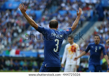 SAINT DENISE- FRANCE,  JUNE 2016 : Chiellini  in action during football match  of Euro 2016  in France between ITALY VS SPAIN at the Stade DE FRANCE on June 22, 2016 in  SAINT DENISE
