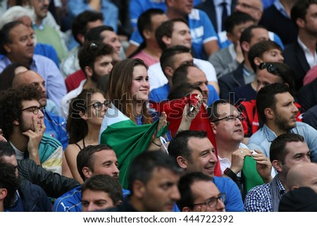 SAINT DENISE- FRANCE,  JUNE 2016 : Italy supporters  in football match  of Euro 2016  in France between ITALY VS SPAIN at the Stade DE FRANCE on June 22, 2016 in  SAINT DENISE