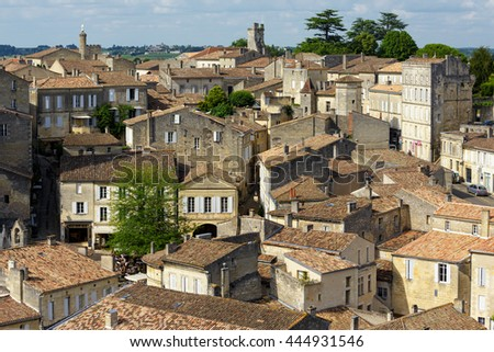 Saint Emilion French village UNESCO heritage, famous for the red wine. - stock photo