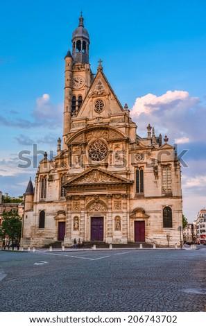 Saint-Etienne-du-Mont is a church in Paris, France, located on the Montagne Sainte-Genevieve near the Pantheon. It contains the shrine of St. Genevieve, the patron saint of Paris - stock photo