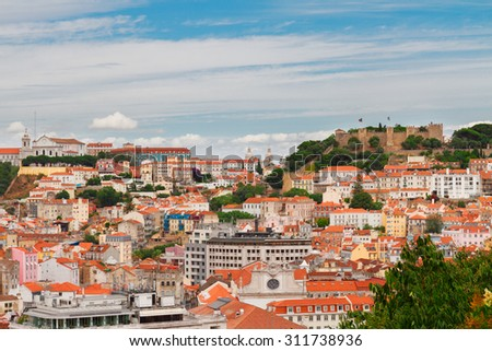 Saint George's Castle  and skyline of  Lisbon at day, Portugal