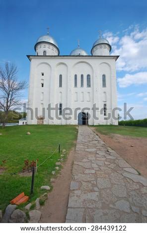 Saint George's Cathedral, Russian orthodox Yuriev Monastery in Veliky Novgorod. Russia - stock photo