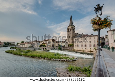 Saint Girons Church in Ariege, Midi Pyrenees, Southern France. - stock photo