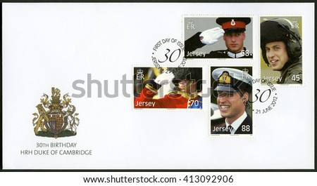 SAINT HELIER, JERSEY - JUNE 21, 2012: A stamp printed in Jersey shows William Arthur Philip Louis, Prince William, Duke of Cambridge, 30th Birthday