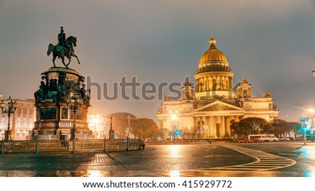 Saint Isaac's Cathedral. Night. St. Petersburg. - stock photo