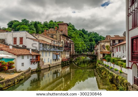 Saint-Jean-Pied-de-Port in the Basque region of France. - stock photo