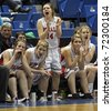 SAINT JOHN, CANADA - FEBRUARY 26: The Riverview Royals react to a score at the NB high school senior girls AAA basketball final February 26, 2011 in Saint John, Canada. Riverview beat Woodstock 71-48. - stock photo