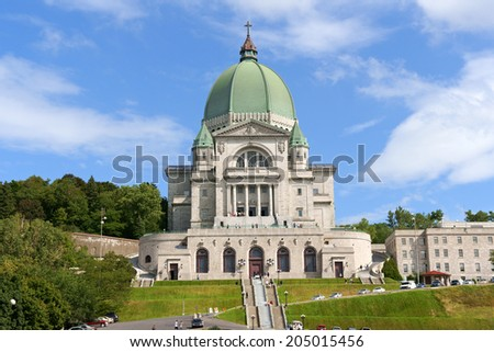 Saint Joseph Oratory construction began in 1904. The original Church was enlarged many times. The actual Basilica construction was terminated in 1967. It is the highest point in the city of Montreal. - stock photo