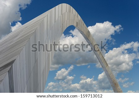 Saint Louis Arch viewed from below during bright day - stock photo