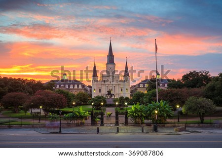 Saint Louis Cathedral and Jackson Square in New Orleans, Louisiana, United States at sunset - stock photo