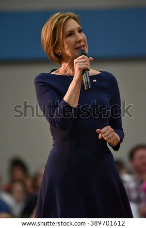 Saint Louis, MO, USA - March 12, 2016: Carly Fiorina stumps for Presidential candidate Ted Cruz as she spoke to a packed out crowd in the Parkway West High School gymnasium. - stock photo