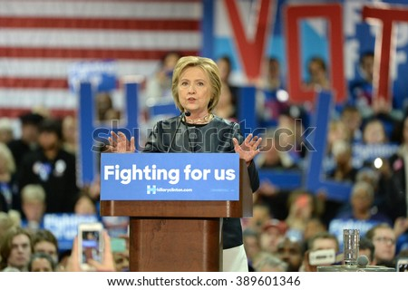 Saint Louis, MO, USA - March 12, 2016: Democratic presidential candidate and former Secretary of State Hillary Clinton campaigns at Nelson-Mulligan Carpenters?? Training Center in St. Louis. - stock photo