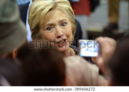 Saint Louis, MO, USA - March 12, 2016: Democratic presidential candidate and former Secretary of State Hillary Clinton campaigns at Nelson-Mulligan Carpenters Training Center in St. Louis. - stock photo