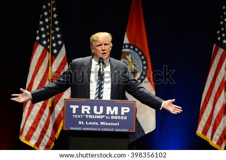 Saint Louis, MO, USA - March 11, 2016: Donald Trump talks to supporters at the Peabody Opera House in Downtown Saint Louis. - stock photo