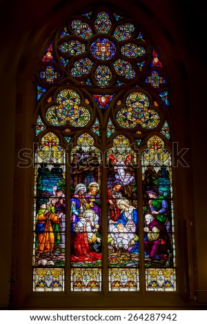 SAINT LOUIS, UNITED STATES - MARCH 11: Stained glass window of nativity of Christ in St John Nepomuk Church on March 11, 2015.  St. John Nepomuk is the oldest Czech Roman Catholic church in the US - stock photo