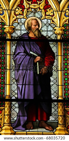 Saint Luke the Evangelist - Stained Glass window in Dom of Cologne - stock photo