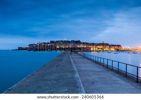 Saint Malo at sunset in summer 2014 - stock photo