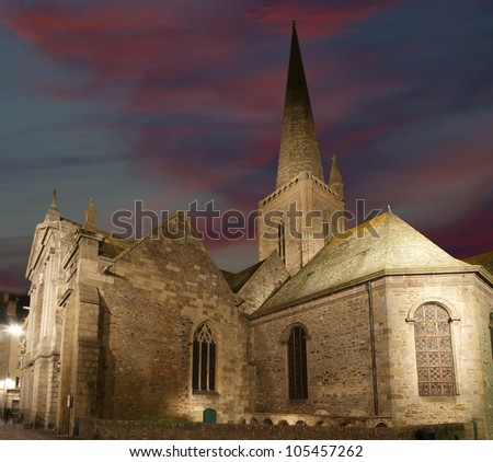 Saint-Malo Cathedral at night-- Cathedral of St. Vincent, Brittany, France - stock photo