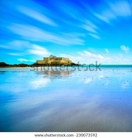 Saint Malo, Fort National and beach during Low Tide. Brittany, France, Europe. Long exposure photography - stock photo