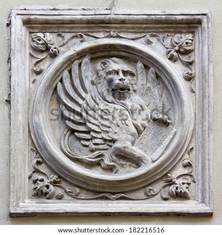 Saint Mark Lion Bas-Relief - stock photo