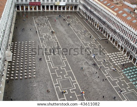 Saint Mark  square (piazza) from the Venice tower