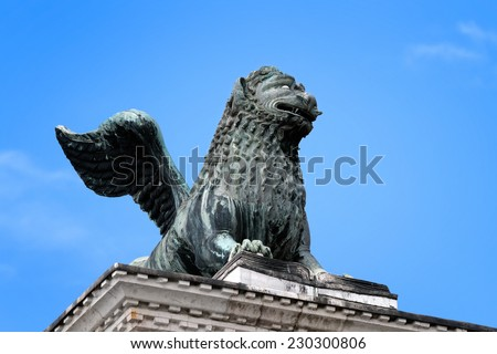Saint Marks Winged Lion Venetian Symbol Column 12th Century Originally from Constantinople. Venice, Italy - stock photo