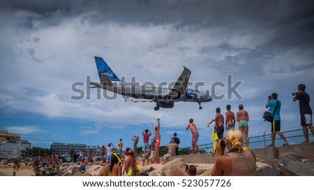 SAINT MARTIN, DUTCH ANTILLES -Sep 30, 2014-- The beach at Maho Bay, near Princess Juliana International Airport is one of the world's premier planespotting destinations.