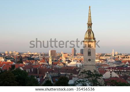 Saint Martin's cathedral and panorama of Bratislava at dusk, Slovakia - stock photo