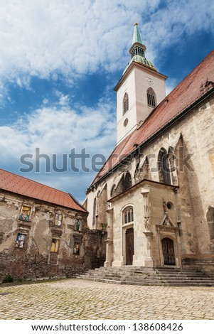 Saint Martin's cathedral of the Archdiocese of Bratislava  in Old Town of Bratislava, Slovakia, at the western border of the historical city center below Bratislava Castle - stock photo