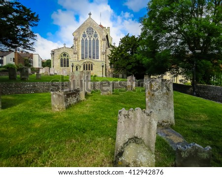 Saint Mary The Virgin Church and graveyard, Eastbourne, East Sussex, England