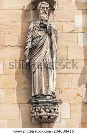 Saint Mathew staue on the west front of Lichfield Cathedral.Staffordshire, England, Britain. - stock photo