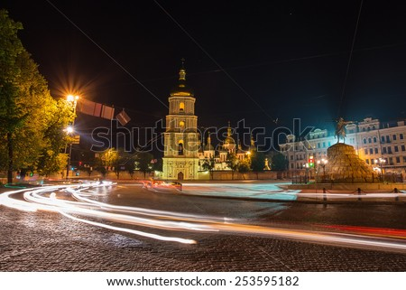 Saint Michael Monastery in Kiev with a full moon at night, Ukraine - stock photo