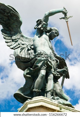 Saint Michael statue at top of Castel Sant'Angelo, Rome - stock photo