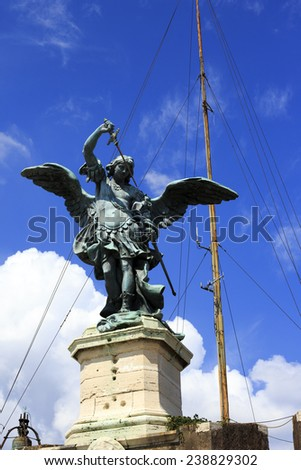 Saint Michael statue on the top of Castel Sant Angelo in Rome. Italy.